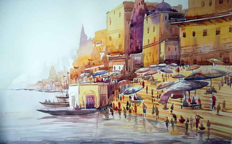 Varanasi Ghat at Morning - Watercolor Painting
