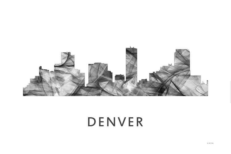 Denver Colorado Skyline WB BW -