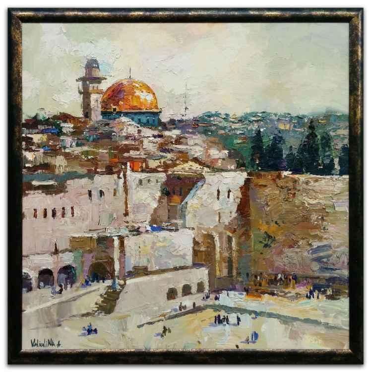 Original oil painting Western Wall in Jerusalem, Israel -