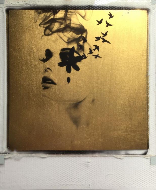 Smoke & Mirrors 24ct gold leaf Polaroid collage - Image 0