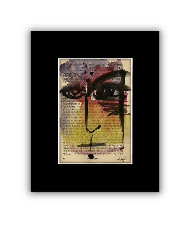 """I See 15"" on Antique Book Page - Abstract Watercolor Painting -"