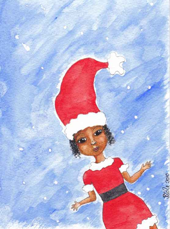 'Little Girl Christmas' Original Watercolour Painting