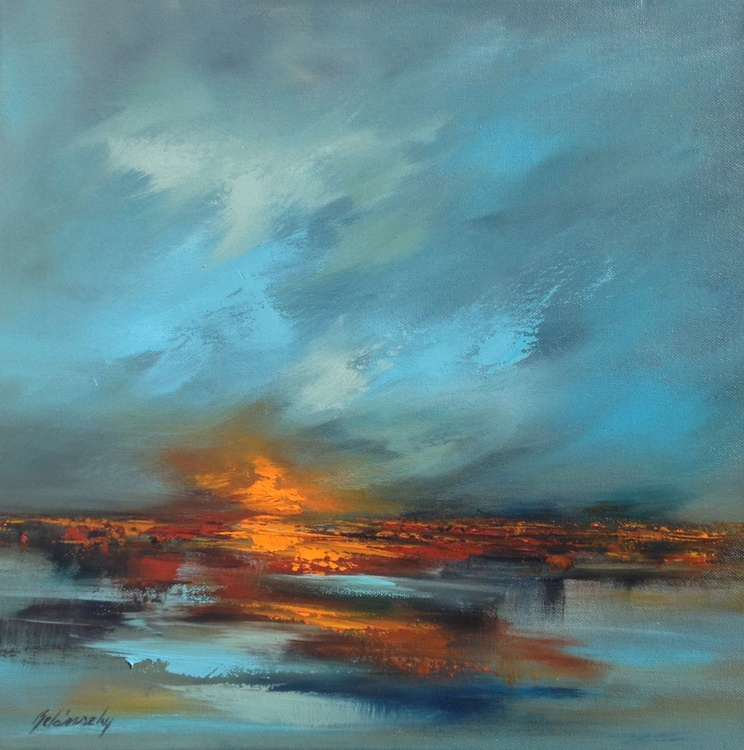 Red Horizon IV - 40 x 40 cm, abstract landscape oil painting, blue, red, turquoise, orange - Image 0