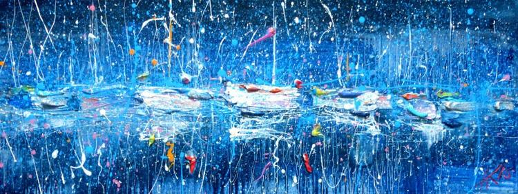 Moonlit yachts, oil painting 80x30 cm - Image 0
