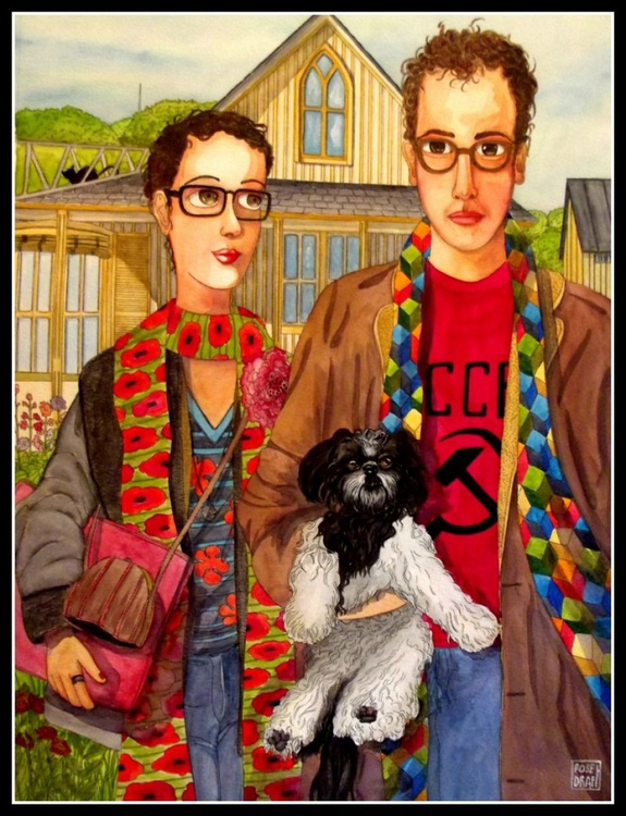 American gothic parody - Rosedraft selfportrait with  husband and dog - Image 0