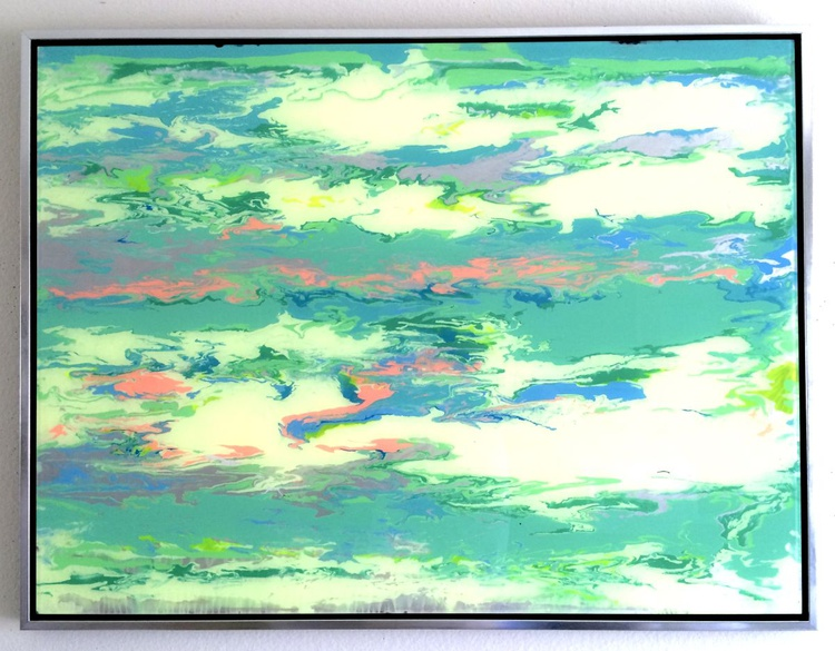 Abstract Contemporary Original painting on Plexiglass One of a kind  Framed  Ready to Hang Signed with Certificate of Authenticity - Image 0