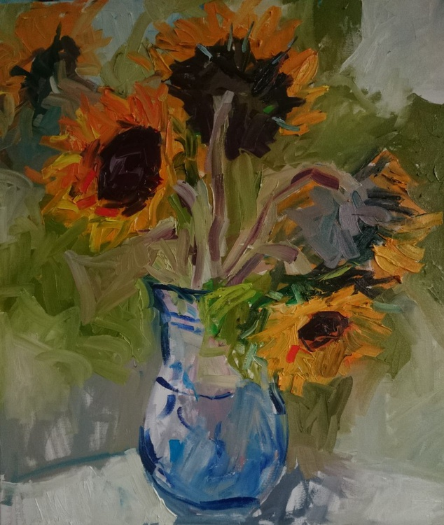 Sunflowers in a blue and white jug - Image 0