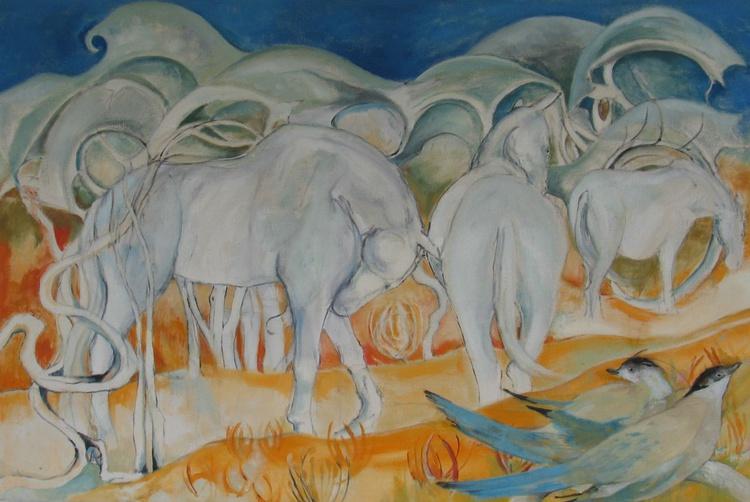 White Horses and Orange Sky - Image 0