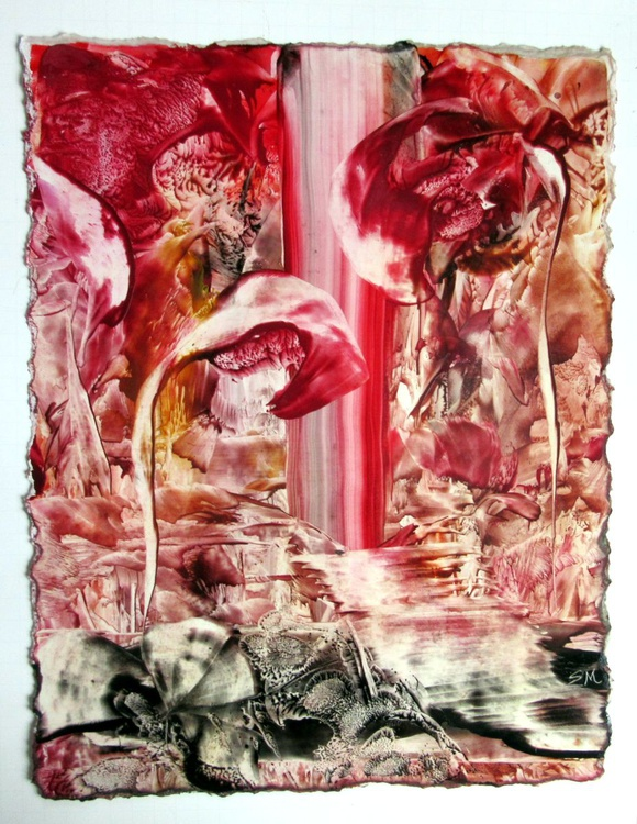 """Abstract Floral Fantasy - Encaustic on Carton - 13""""x17"""" Red - Image 0"""