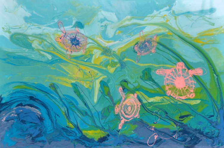 WANDERING TURTLES 2   150x100 resin painting - Image 0