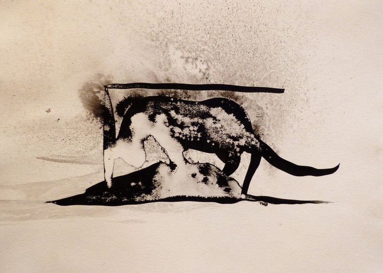 The Nocturnal Cat, ink drawing 29x42 cm - Image 0