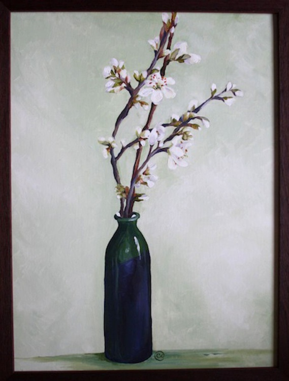 Blossom in a green vase - Image 0