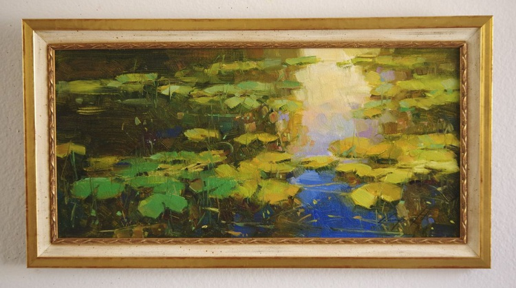 Water Lilies  Original oil painting  Handmade artwork Framed Ready to Hang One of a kind - Image 0