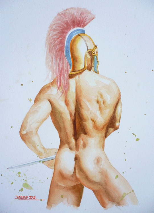 original watercolout painting  artwork  soldier of male nude on paper#16-6-23 - Image 0