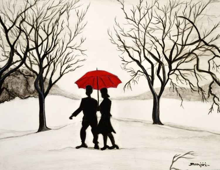 Love in the Snow Romantic painting -
