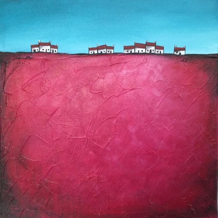 Hilltop houses on Pink - Image 0
