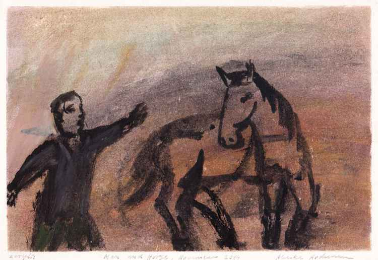Man and Horse, November 2014_acrylic on paper 20,7 x 29,9 cm
