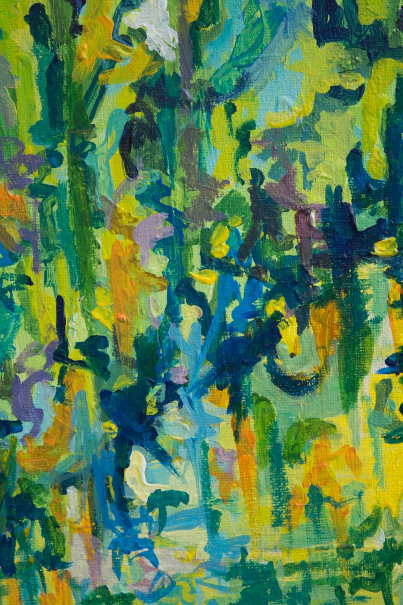 Rain forest acrylic painting by michelle stein artfinder for Painting a forest in acrylics