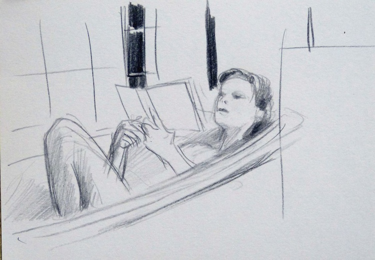 Reading in the bath, 21x15 cm - Image 0