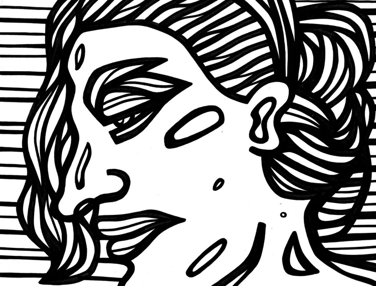 Lachrymose Woman Original Drawing - Image 0