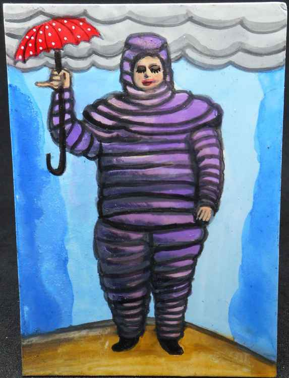 Purple Protection Suit with Red Umbrella Original Painting
