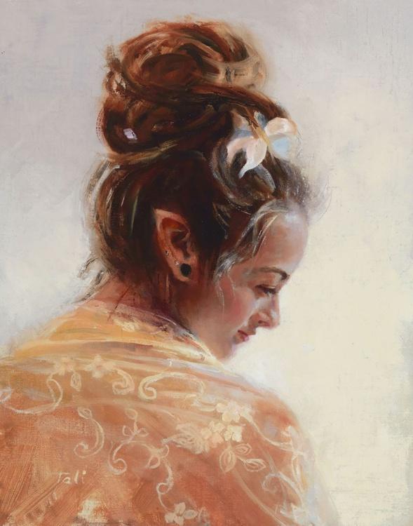Elfin Beauty in Lace - oil portrait - Image 0