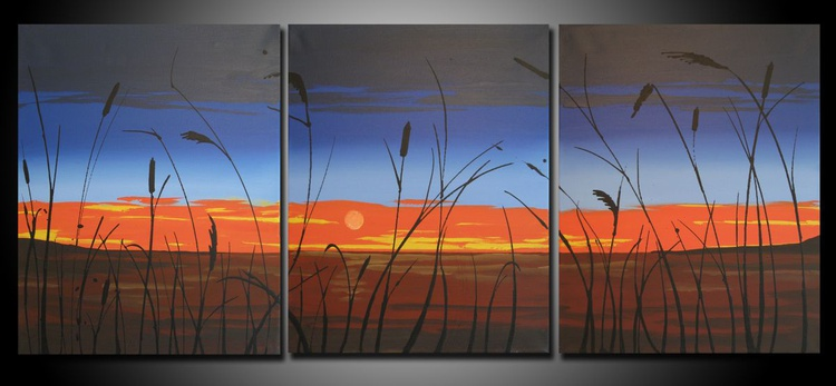 "triptych landscape art ""sunset lake"" hand made original 48 x 20 inches - Image 0"