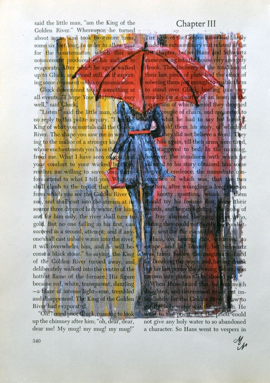 Red Umbrella on the Vintage Paper - Image 0