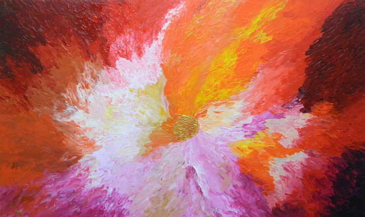 Wild Orchid -  Original, unique, large colorful modern abstract fine art painting with texture - Image 0