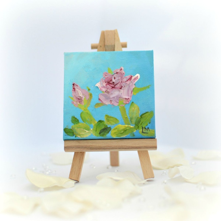 Rose miniature painting with display easel - Image 0