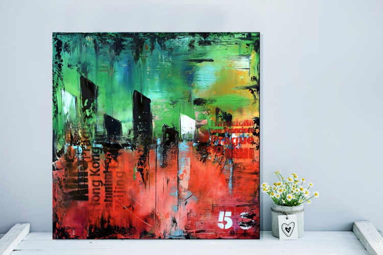 No. 50- Green and orange abstract urban painting on gallery wrap canvas - Image 0