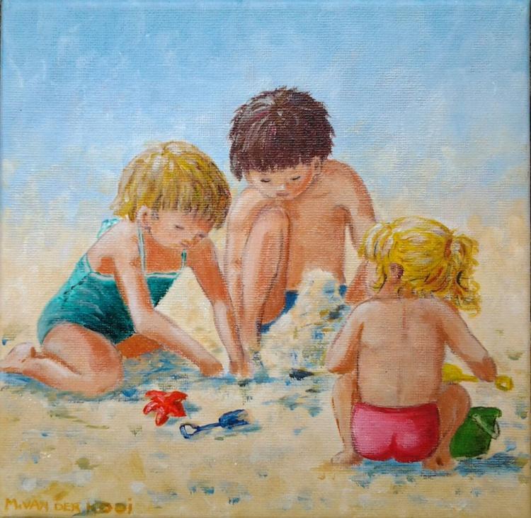 """BEACH BABIES"", 20x20cm acrylic on canvas, ready to hang - Image 0"