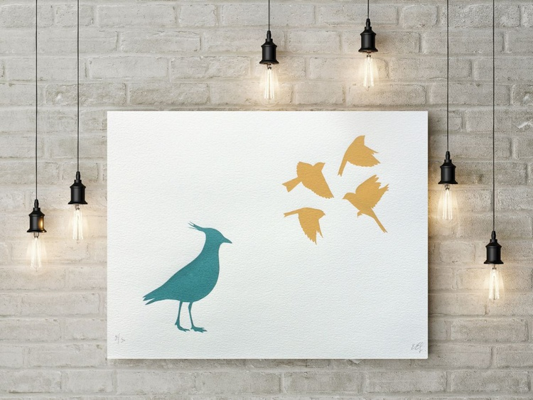 LAPWING AND YELLOWHAMMERS-unframed-FREE WORLDWIDE DELIVERY - Image 0