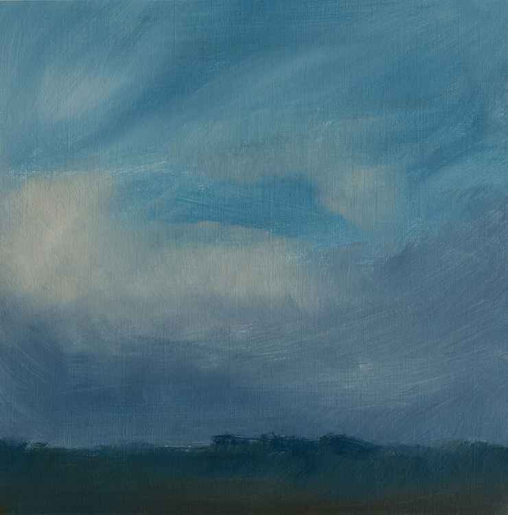 Clouds - small size - oil painting on paper - 20X20 cm -