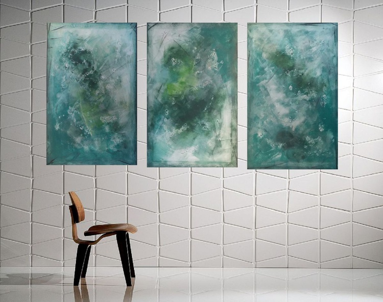 71x37inches( 180x95cm), Serenity,  extra large abstract painting, urban art, large canvas art,  green shades - Image 0