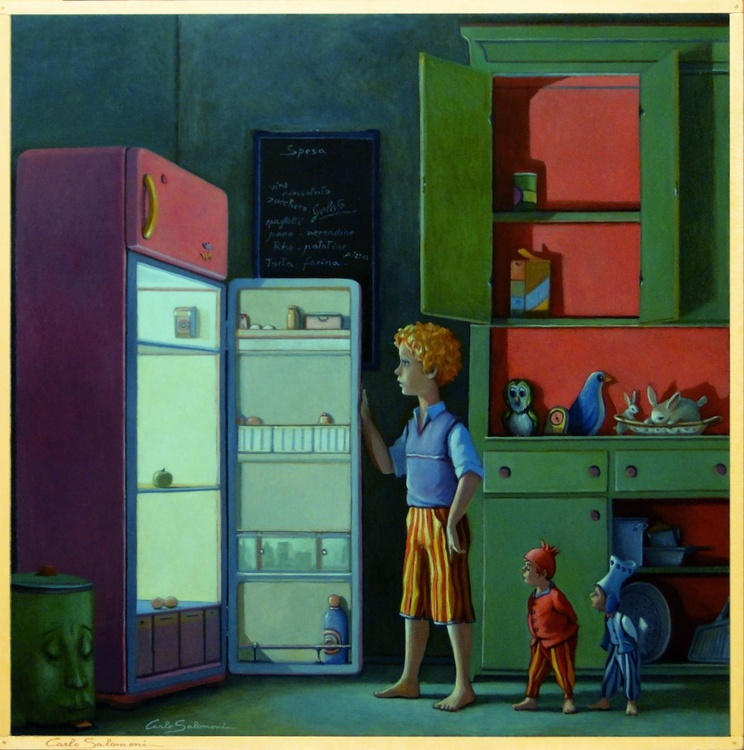 PANTRY AND REFRIGERATOR EMPTY. (framed) by Mangia...Re. - Image 0