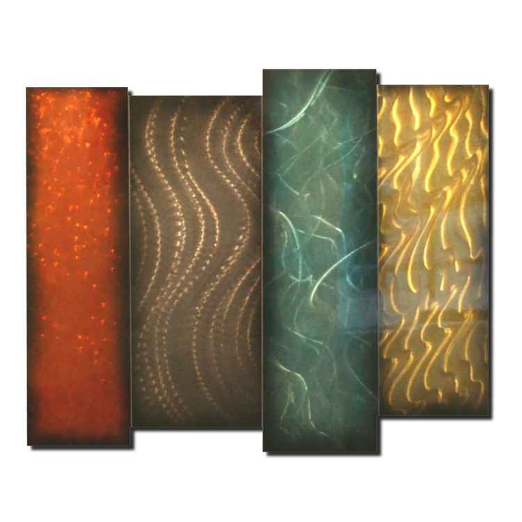 Indigenous | Abstract Wall Sculpture - Contemporary Metal Artwork - Turquoise & Tangerine Orange Metallic Decor - Industrial Urban Wall Art