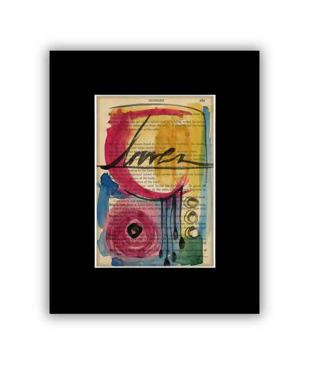 Abstract 26 on Antique Book Page - Abstract Watercolor Painting -