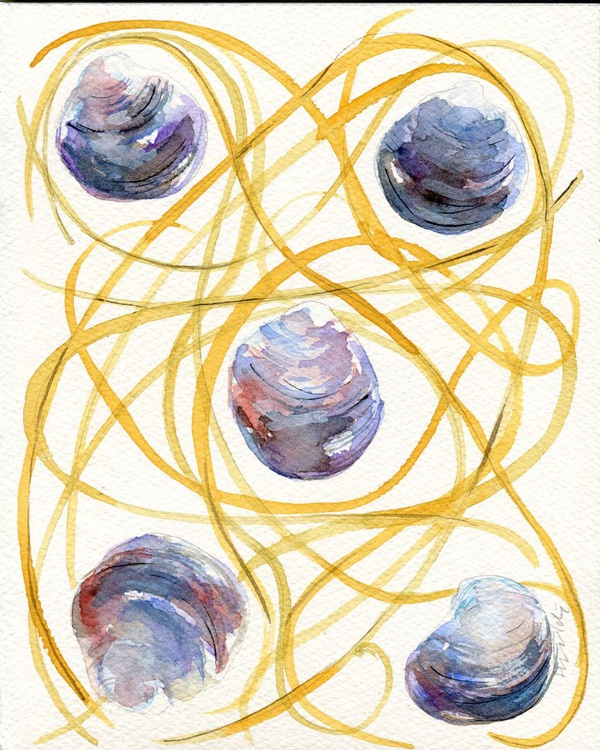 Original Watercolour Painting of Spaghetti alla Vongole - Image 0