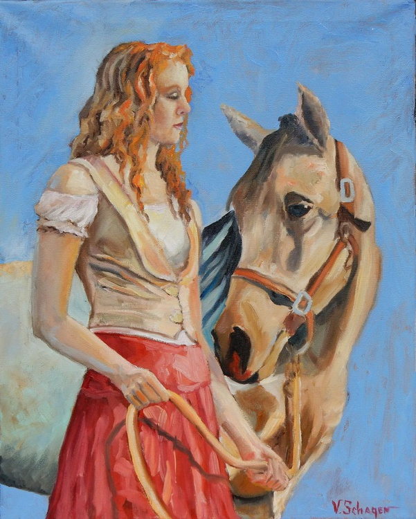 Friends. (girl and horse) - Image 0
