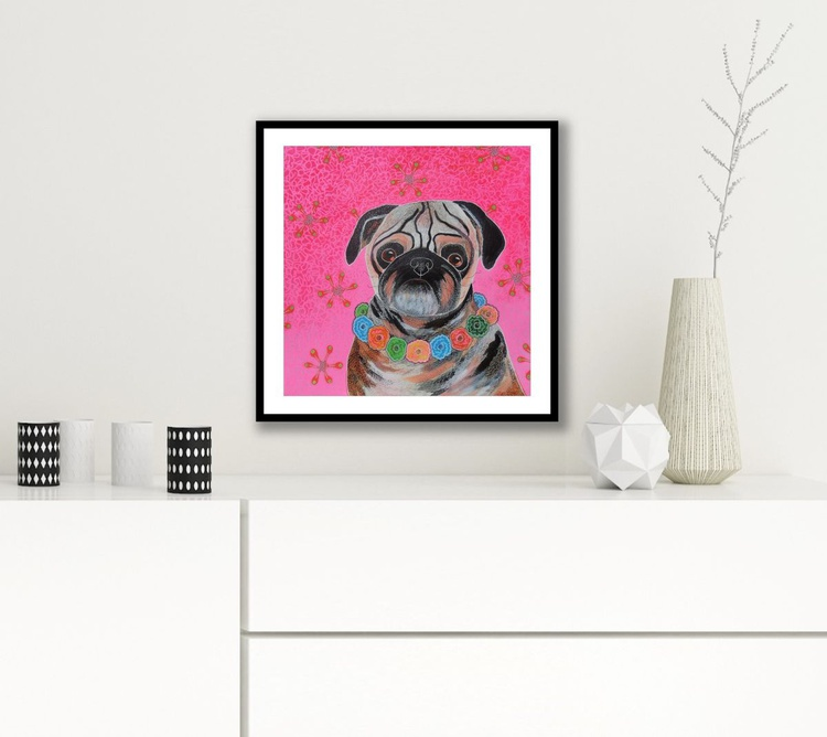 Pug With Flower Garland - Image 0