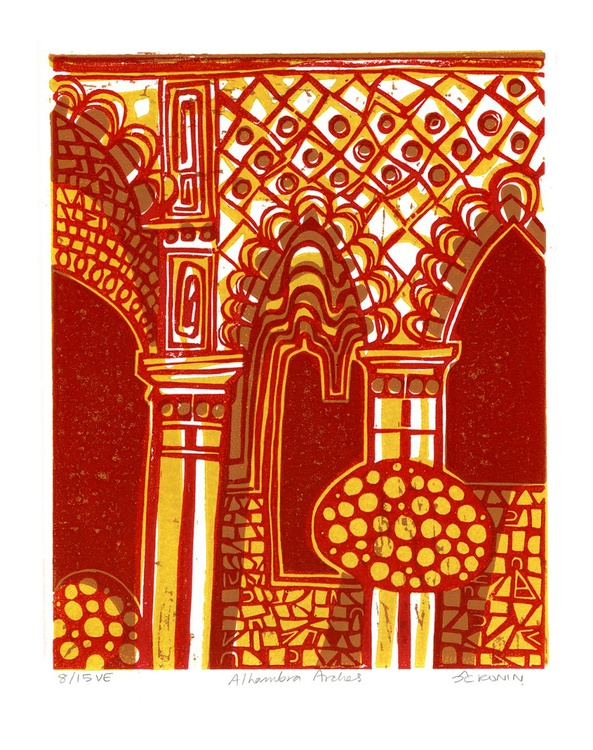 Alhambra Arches Linocut Hand Pulled Original Relief Print Variable Edition of 15 (red) - Image 0