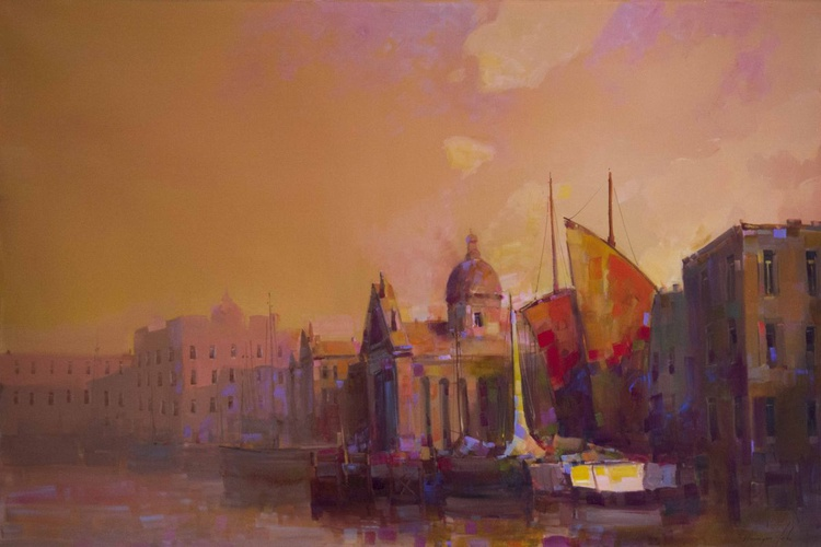Venice Cityscape oil Painting Large size Signed One of a Kind - Image 0
