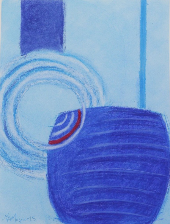 Blue map original pastel abstract drawing - Image 0