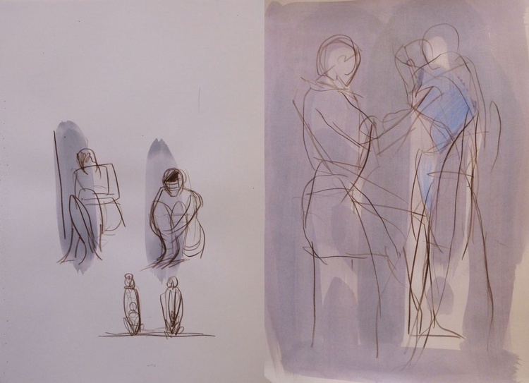 Family - Diptych, 2 pencil drawings 29x42 cm each - Image 0