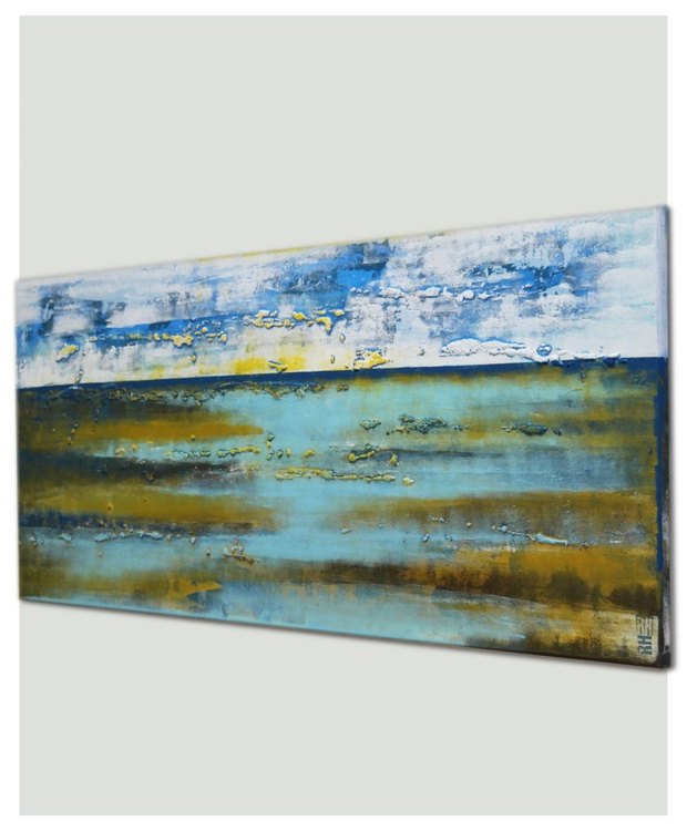 Abstract Painting - Landscape Blue White Brown - B8 - Image 0