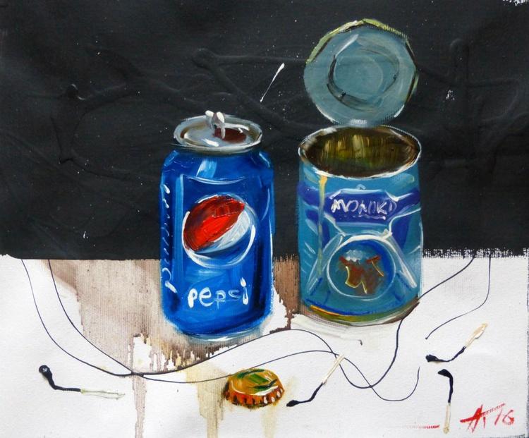 Pepsi or condensed milk? oil painting 30x25 cm - Image 0
