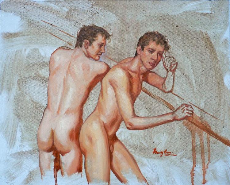 Original oil paintingl art male nude boys  gay on canvas  #16-5-1-03 - Image 0