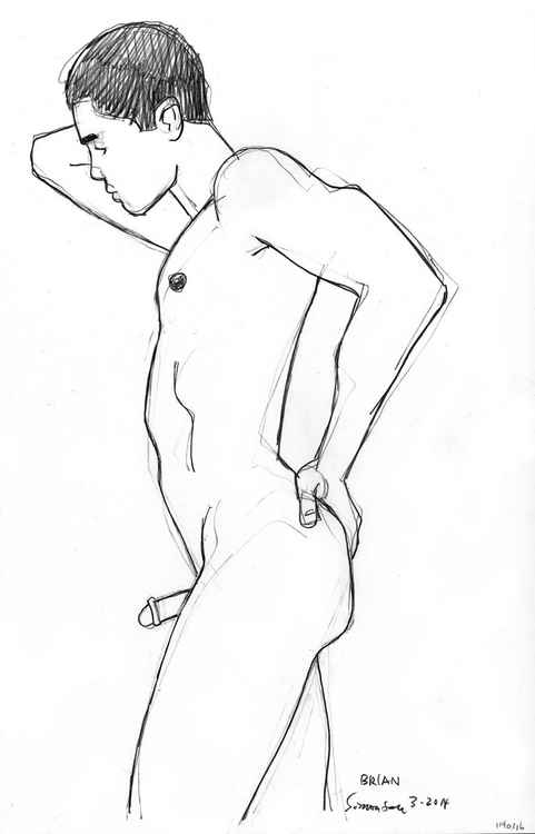 Lean Male Nude from Side -