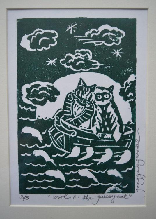 Owl and the Pussycat, Original Handmade limited edition Linocut, 2016 - Image 0